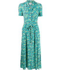 hvn fruit-print collared dress - blue