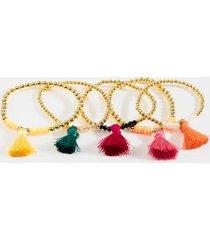 ava tassel beaded bracelet set - multi