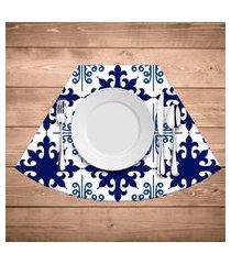 jogo americano para mesa redonda wevans ladrilhos azuis kit com 6 pçs