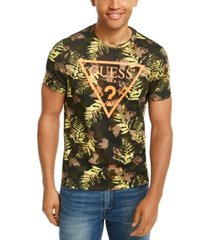 guess men's leaf print logo t-shirt