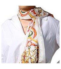 hand painted silk batik scarf, 'ancient tradition' (armenia)
