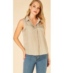 yoins apricot lapel collar pockets design sleeveless blouse