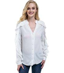 blusa manga con vuelos blanco nicopoly