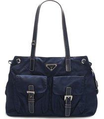 prada pre-owned triangle logo shoulder bag - blue