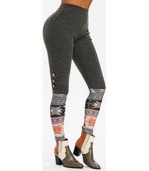 geometric mock button high waisted leggings