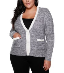 belldini black label plus size v-neck button down sweater with pockets