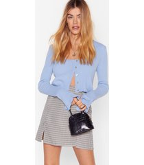 womens license to chill ribbed button-down cardigan - pale blue
