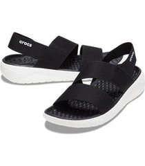 crocs literide stretch sandal w - black/white - feminino