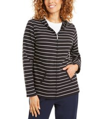 karen scott striped zippered hoodie, in petites, created for macy's