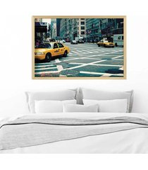 quadro love decor com moldura new york city madeira clara  médio - tricae