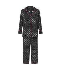 pijama feminino manga longa e calça - preto