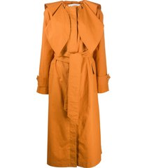 lanvin belted scarf detail trench coat - orange