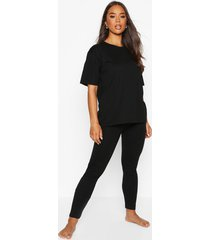 basic t-shirt & legging soft jersey pj set, black