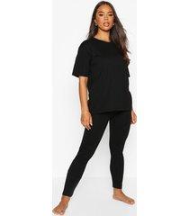 basic t-shirt and legging soft jersey pj set, black