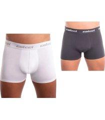 kit com 2 cuecas modelo boxer em algodã£o colcci - cinza - masculino - dafiti