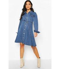 maternity button front denim shirt dress, mid blue