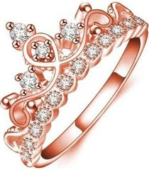 rose gold or silver princess tiara ring cz free gift box