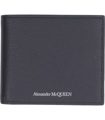 alexander mcqueen grainy leather flap over wallet