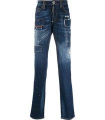 philipp plein teddy bear straight leg jeans - blue