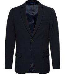 classic single-breasted blazer in yarn-dyed pattern blazer kavaj blå scotch & soda
