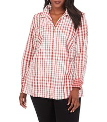 plus size women's foxcroft santino crinkle plaid shirt, size 24w - burgundy