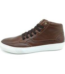 calçado masculino sapatênis em couro kéffor cor marrom linha cloud