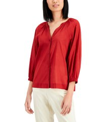 alfani petite cotton y-neck top, created for macy's