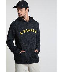 """blusão masculino """"chicago"""" em moletom com capuz preto"""