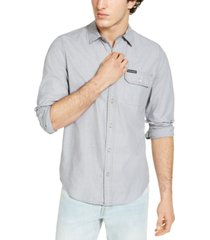 calvin klein men's long sleeve chambray stripe shirt