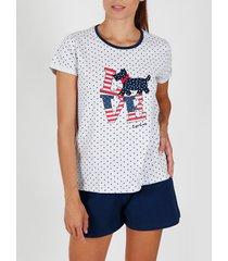 pyjama's / nachthemden admas pyjamashort t-shirt loulou love grijs