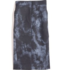 rubberized tie dye pencil skirt in navy multi