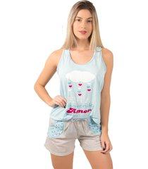 pijama bella fiore modas short doll tal mãe azul