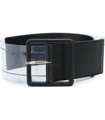 veronica beard tinmarie transparent panel belt - black