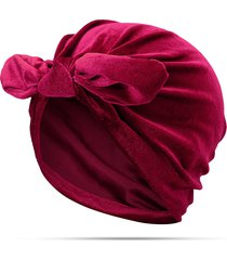 womens velvet elastic head banda capelli accessorio bow-knot beanie hat uv proteggi sun hat