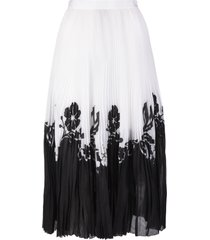 ermanno scervino pleated midi skirt with embroidered floral inlays