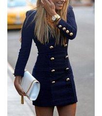 lápiz de botón de manga larga azul oscuro de moda vestido