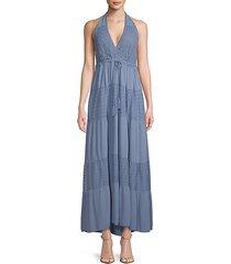 open-back halter silk maxi dress