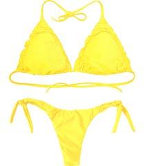 biquíni cortininha divance amarelo calcinha ripple 613
