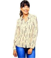 camisa manga longa estampada sob feminina