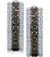 le vian chocolatier chocolate diamonds & vanilla diamonds hoop earrings (3/4 ct. t.w.) in 14k white gold