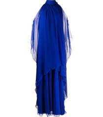 alberta ferretti layered cut-out silk gown - blue