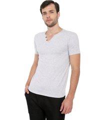 camiseta con botones de hombre licrada - gris jaspe polovers