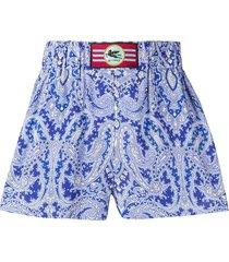 etro bandana-print flared shorts - blue