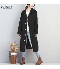 zanzea mujer de manga larga abajo de los botones de gran tamaño chaqueta de la capa outwear cardigan plus negro -negro