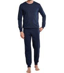 schiesser heren pyjama met boord blauw