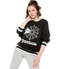 buzo negro-blanco reebok cl ft  big logo crew