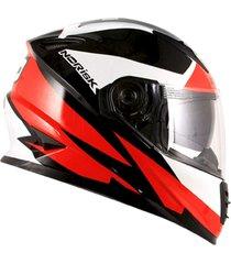 capacete norisk ff302 ridic (viseira solar) preto/branco/vermelho ff302 rid