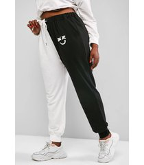 plus size colorblock face print drawstring sweatpants
