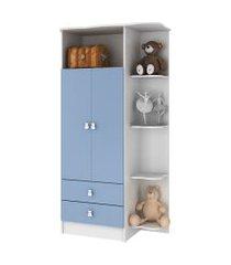 guarda roupa 2 portas com cantoneira branco e azul  percasa móveis