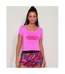 "camiseta feminina esportiva ace trng"" com micro furos manga curta decote redondo pink"""